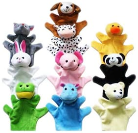 Kuhu Creations Animal Soft Toy Hand Puppets (Set Of 10)