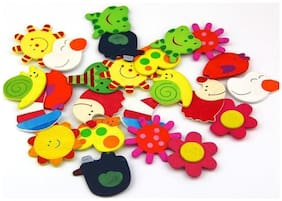 Kuhu Creations , Supreme Colorful Fridge Magnet Wooden stickers in shapes (Vivid Color Thin Shapes 24 Pcs) .