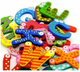 Kuhu Creations Wood Magnet Alphabet (26 Pcs)