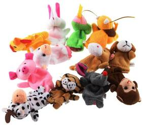 Kuhu Creations Multicolor Family And Animal Finger Puppet (Set Of 12)
