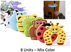 Kuhu Creations  Premium Door Stopper Finger Pinch Guard/Accidental Door Lock Protection For Baby Safety Mix Color.(8 Units, U Style)
