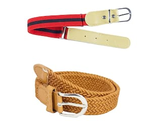 Kutumbh Combo Set of Belts for Kids - Pack of 2, Elastic Stretchable Adjustable Belts for Kids Boys and Girls (Suitable for 2 to 8 Years Old) Red::Brown