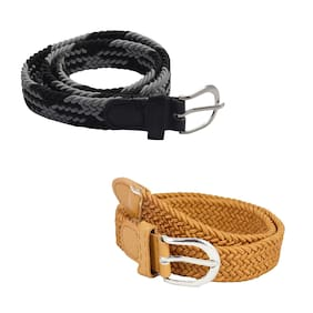 Kutumbh Combo Set of Belts for Kids - Pack of 2, Elastic Stretchable Adjustable Belts for Kids Boys and Girls (Suitable for 2 to 8 Years Old) Grey::Brown::Black