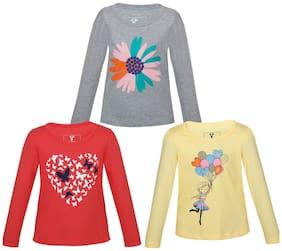 Landebert Girl Cotton Printed T shirt - Multi
