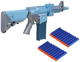 Large 72cm Battery Operated Semi Auto Blaze Storm Gun Toy with 20 Foam Bullets for Kids