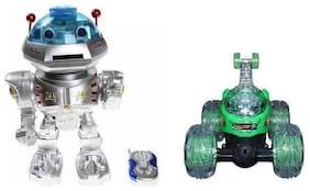 latest radhe New Remote Control Robot & Remote Control Stunt Car Combo With Light And Music