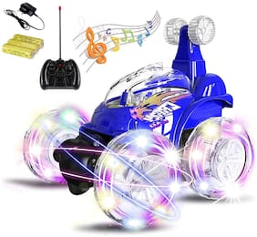 latest radhe R/C Rechargeable 360 Degree Twisting Stunt Car with Music & Lights for Kids (Multi-Colored)