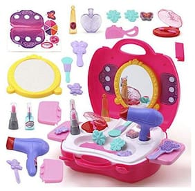 latest radhe Beauty Make Up Case and Cosmetic Set Suitcase,Durable Kit Hair Salon with 21 pcs Makeup Accessories for Children Girls
