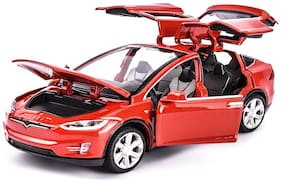 latest radhe Model X Die-Cast 4 Wheel Drive Metal Car Pull Back with 6 Openable Doors, Engine Cover, Tail with Front and Rear Light & Music, Gift for Boys and Girls Above 4 Years Best Gift (Model X)