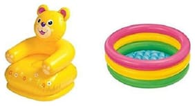 latest radhe New Inflatable Plastic Combo Pack Of Teddy Chair & Tub
