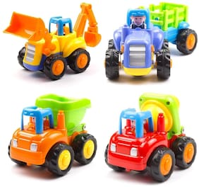 latest radhe Unbreakable Automobile Car JCB Tractor Truck Engineering Toys for Kids Set of 4