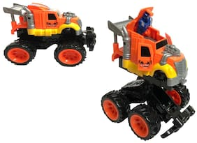 latest radhe Unbreakable Transformer Friction Car Deform with Friction Truck, Cool Sprint Bounce Open Stunt Car, Great Gift for Boys and Girls