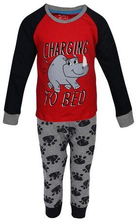 Lazy Shark Boys Cotton Printed Nightwear Top & Bottom Set