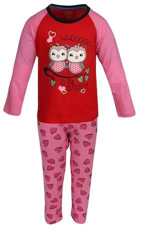 Lazy Shark Girl Cotton Printed Top & Pyjama Set - Pink
