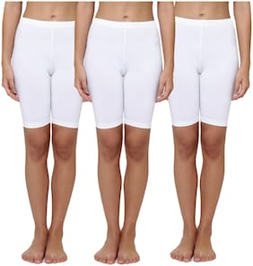 Leading Lady Girl Cotton Solid Regular shorts - White