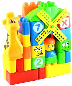 Learning Blocks for Kids with Cartoon Figures, Bag Packing, Best Gift Toy, Multi-color (Set of 35 pcs)