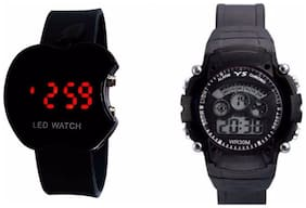 LECOZT BLACK APPLE LED WATCH  AND BLACK 7 LIGHTS DIGITAL WATCH COMBO - Pack of 2