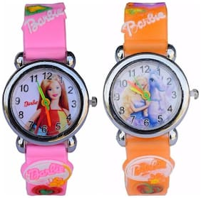 LECOZT PINK BARBIE ANALOG WATCH FOR KIDS - ( Get a freebie Orange barbie analog watch for kids ) - Pack of 2