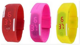 Led Multi Colour Digital Watch For Kids_Red  Pink & Yellow (Pack Of 3)