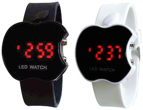 Led Watch Combo Of Black & White Apple Led Digital Watch For Kids