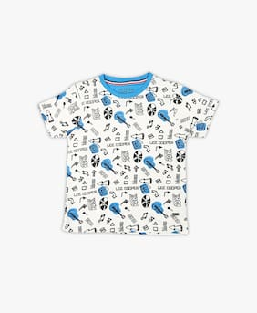 Lee Cooper Boys White Graphic Print T-Shirt