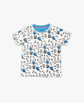 Lee Cooper Boy Cotton Solid T-shirt - White