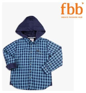 Lee Cooper Checkered Boys Blue Shirt
