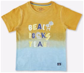Lee Cooper Boy Cotton Printed T-shirt - Yellow & Blue