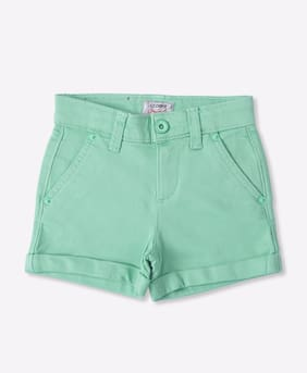 Lee Cooper Girl Cotton Solid Regular shorts - Green