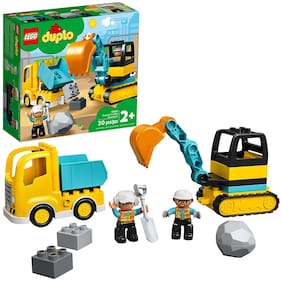 LEGO DUPLO Construction Truck & Tracked Excavator 10931 Building Site Toy for Kids Aged 2 and Up;Digger Toy and Tipper Truck Building Set for Toddlers;(20 Pieces)