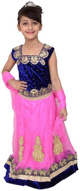 Lehenga Choli Dress For Girls Kids - Pink Blue - Velvet Net - Embroidered - Partywear - Readymade
