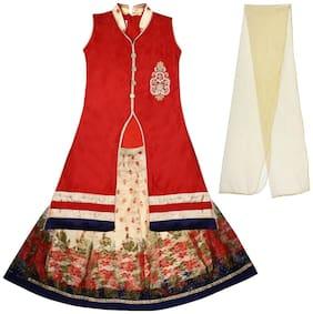 Arshia Fashion Girl's Silk Solid Sleeveless Lehenga choli - Red