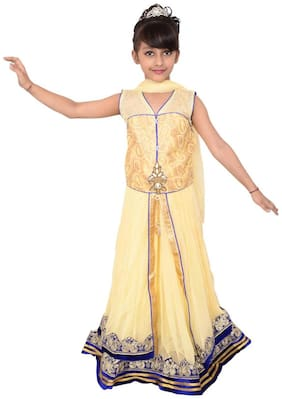 Lehenga Choli Dress For Girls Kids - Beige - Net - Embroidered - Partywear - Readymade