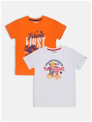 Li'l Tomatoes Boy Cotton Printed T-shirt - Orange