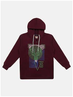 Li'l Tomatoes Boy Knitted Printed Sweatshirt - Maroon