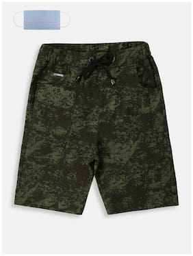 Li'l Tomatoes Boys Cotton Printed Green Color Bermuda With FREE 3-Ply Face Mask