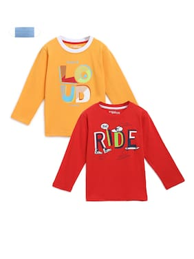 Li'l Tomatoes Cotton Printed T shirt for Baby Boy - Red & Yellow