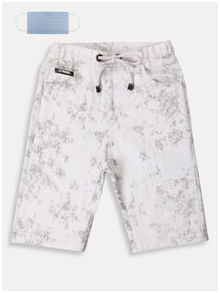 Li'l Tomatoes Boys Cotton Printed White Color Bermuda With FREE 3-Ply Face Mask