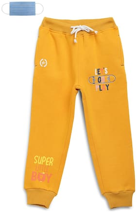 Li'l Tomatoes Cotton Printed Yellow Color Joggers with Free 3-Ply Face Mask