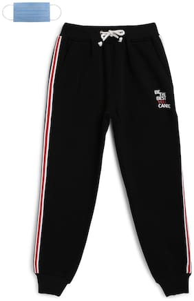 Li'l Tomatoes Cotton Striped Black Color Joggers with Free 3-Ply Face Mask