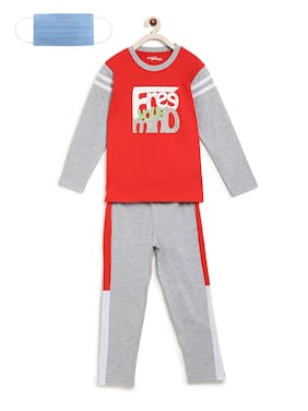 Li'l Tomatoes Boys Night Suit With FREE 3-Ply Face Mask Red