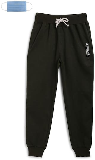 Li'l Tomatoes Cotton Solid Black Color Joggers with Free 3-Ply Face Mask
