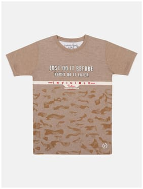 Li'l Tomatoes Boy Cotton Printed T-shirt - Beige