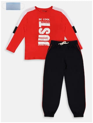 Li'l Tomatoes Cotton Printed Red and Black Top & Pyjama Set with Face Mask for Boy