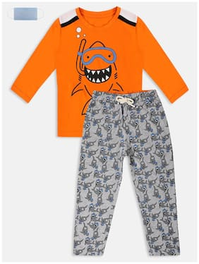 Li'l Tomatoes Cotton Printed Orange and Grey Top & Pyjama Set with Face Mask for Boy