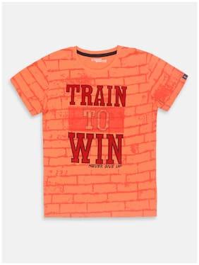 Li'l Tomatoes Boy Cotton Printed T-shirt - Orange
