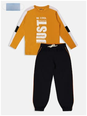 Li'l Tomatoes Cotton Printed Yellow and Black Top & Pyjama Set with Face Mask for Boy