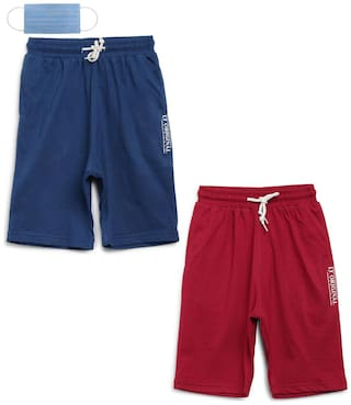 Li'l Tomatoes Boys Combo Bermuda With FREE 3-Ply Face Mask(Navy Blue; Red)