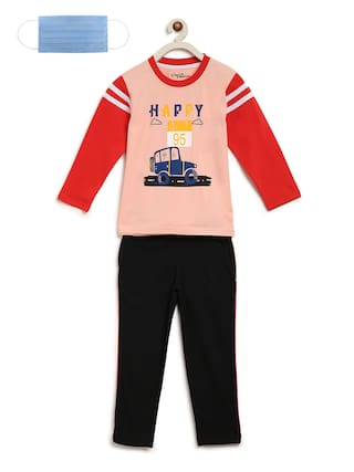 Li'l Tomatoes Boys Night Suit With FREE 3-Ply Face Mask Black