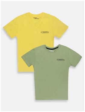 Li'l Tomatoes Cotton Solid T shirt for Baby Boy - Green